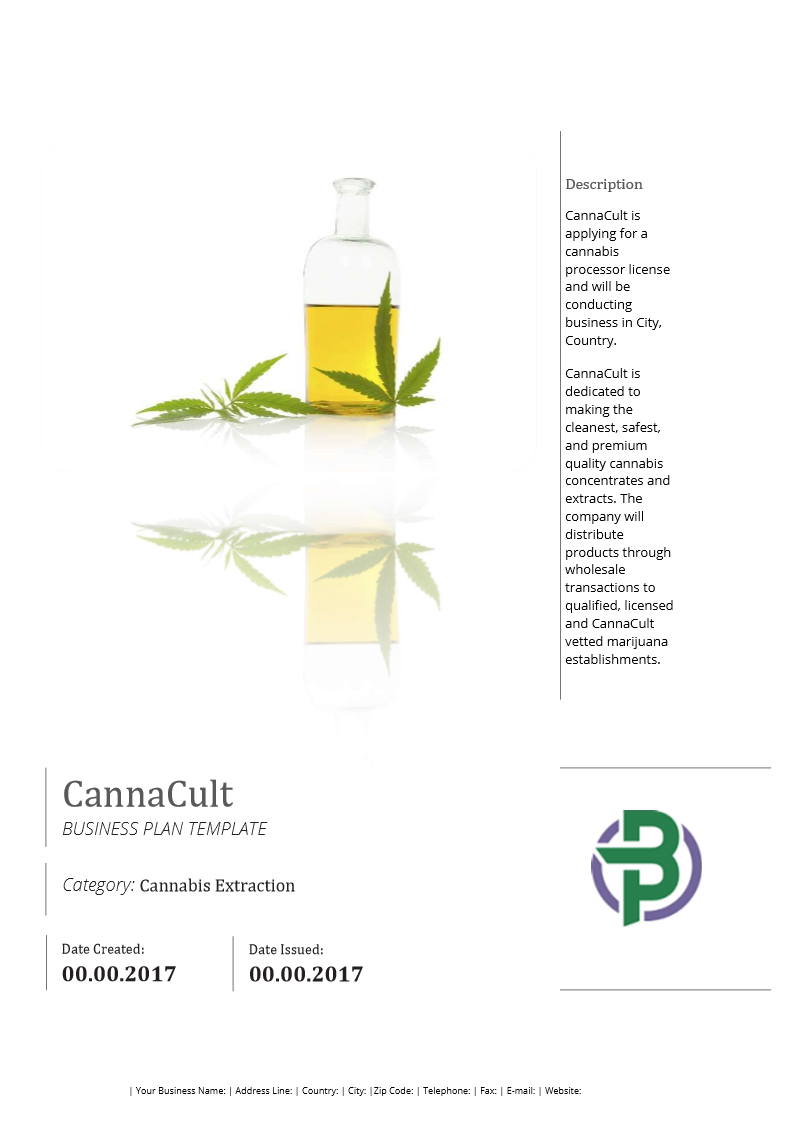 Cannabis Extraction Concentrates Business Plan Template