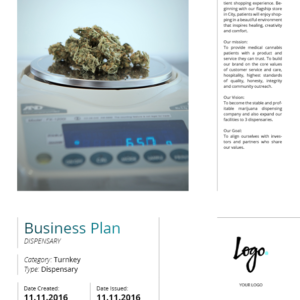 Turnkey Cannabis Business Plan. Prepayment