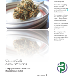 Cultivation+Extraction/ Manufacturing+Dispensary/ Store Cannabis Business Plan Template