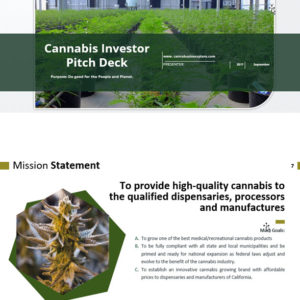 Cannabis Investor Pitch Deck Template for Cultivation