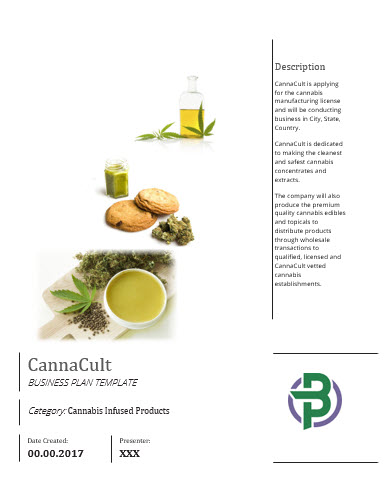 Cannabis Infused Products Manufacturer Business Plan Template