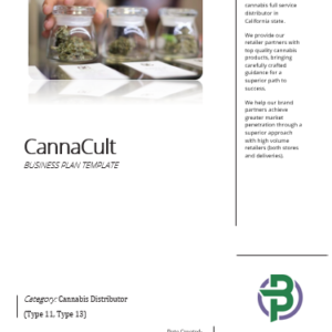 Cannabis Distributor Business Plan Template