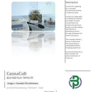 Cannabis Microbusiness Business Plan Template for Manufacturing/ Distribution/ Retail