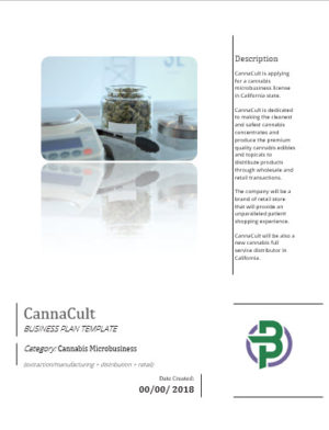 Cannabis Microbusiness Business Plan Template Manufacturing Distribution Retail