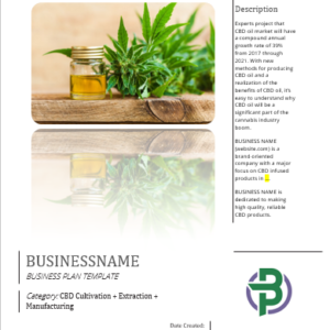 CBD Cultivation + Extraction + Manufacturing Business Plan Template