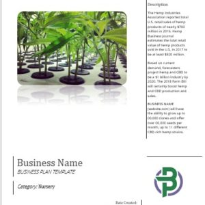 Hemp Clones and Seeds Nursery Business Plan Template