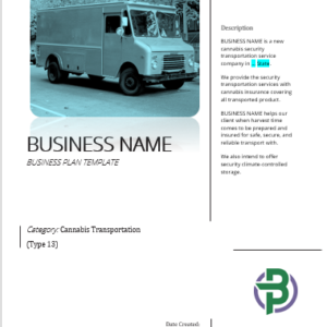 Cannabis Transportation Business Plan Template