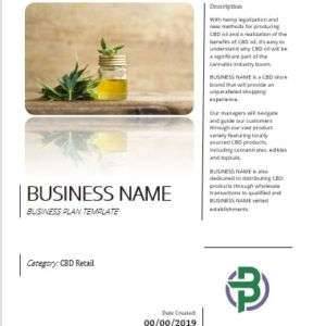 CBD Products Retail/Online Store Business Plan Template