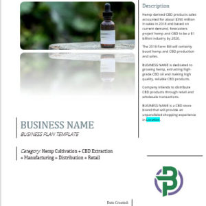 Hemp CBD Vertically Integrated Business Plan Template