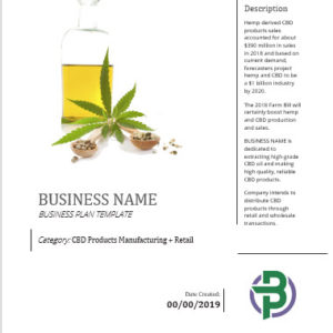 Hemp CBD Extraction + Manufacturing + Retail Business Plan Template